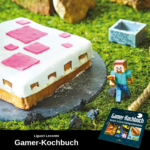 Quadratischer Kuchen in Weiß-Rosa, daneben steht eine Minecraft-Figur. Unter dem Bild ist ein Hinweis auf das Gamer-Kochbuch von Liguori Lecomte