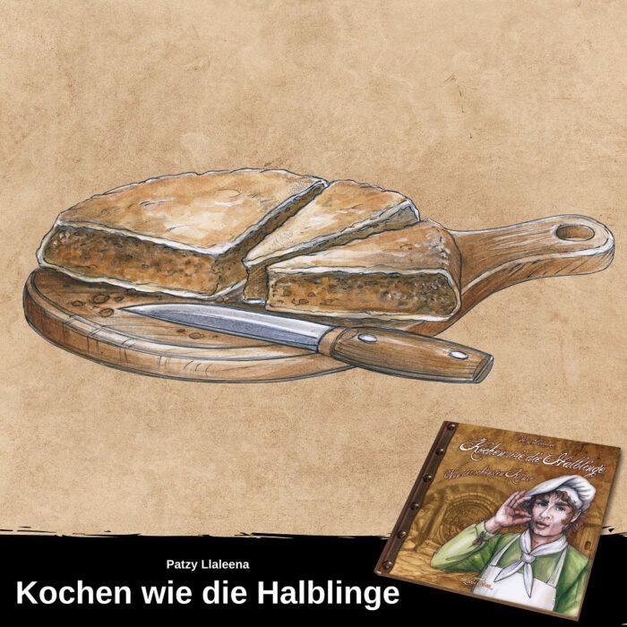 """Gezeichnet Bild eines angeschnittenen Kuchens mit Messer. Unter dem Bild ist ein Hinweis auf das Kochbuch """"Kochen wie die Halblinge"""""""