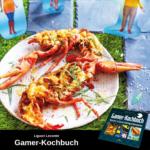 Mit Käse überbackener Hummer, daneben Pappfiguren aus Die Sims
