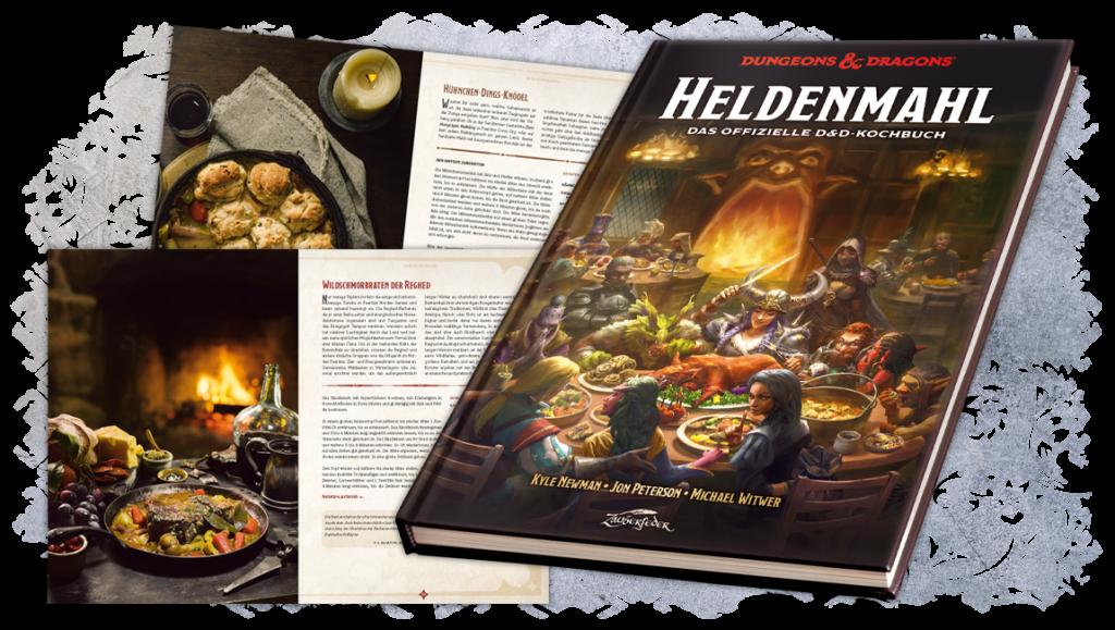 Cover von Heldenmahl, dem offiziellen Kochbuch zu Dungeons & Dragons; ein gezeichnetes Bild einer fantasy-Abeneteuergruppe an einem runden Tisch im Wirtshaus, im Hintergrund ein Kaminfeuer. Außerdem sind 2 Seiten aus dem Kochbuch abgebildet, die sowohl Rezepte wie auch Bilder von den Rezepten zeigen.