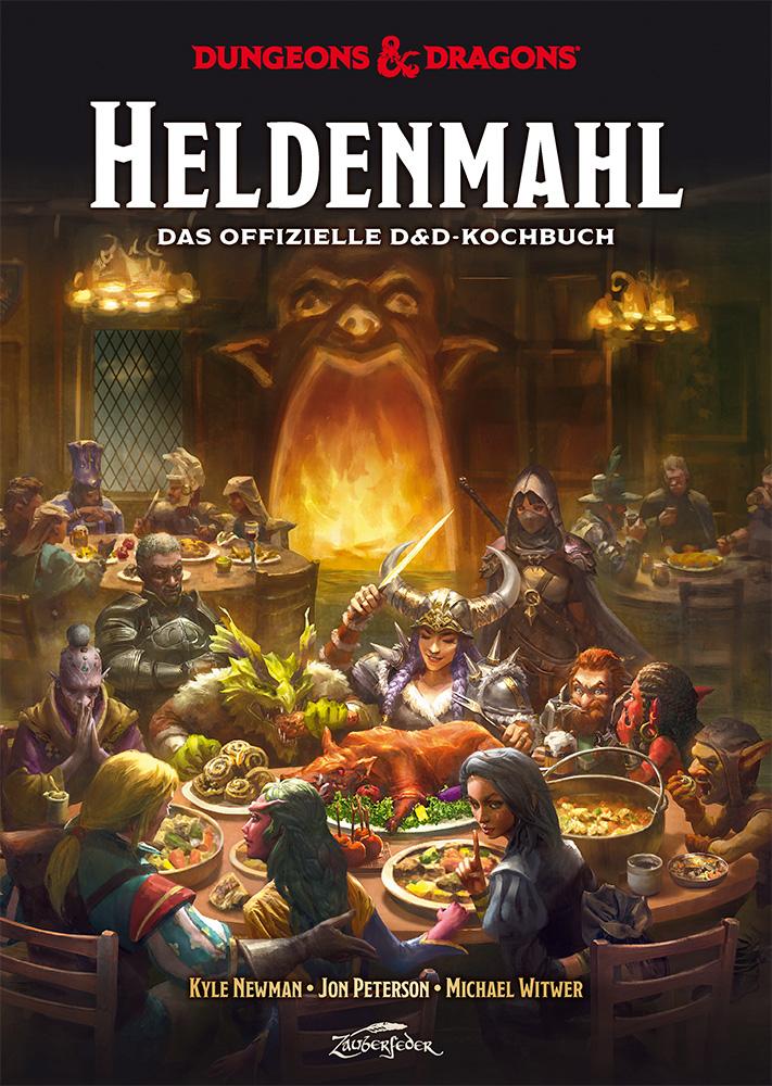 Cover von Heldenmahl, dem offiziellen Kochbuch zu Dungeons & Dragons; ein gezeichnetes Bild einer fantasy-Abeneteuergruppe an einem runden Tisch im Wirtshaus, im Hintergrund ein Kaminfeuer.