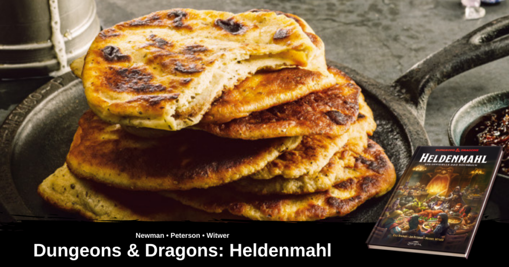 Ein Bild von dem Gericht Zwergisches Fladenbrot, aus Heldenmahl - Das offizielle D&D Kochbuch. Zu sehen ist ein Stapel des zwergischen Fladenbrotes, das auf einer gusseisernen Pfanne serviert wird.